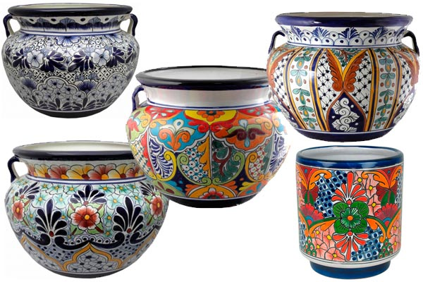 Planters Mexican Mayan Aztec Pottery